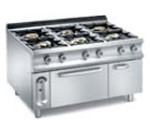 C015 macchina a gas gpl 6 fuochi con 1 forno e 1 scaldapiatti